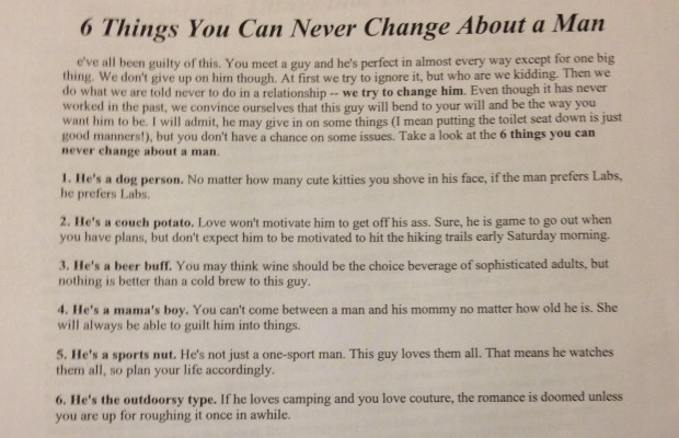 6 Things You Can Never Change About a Man
