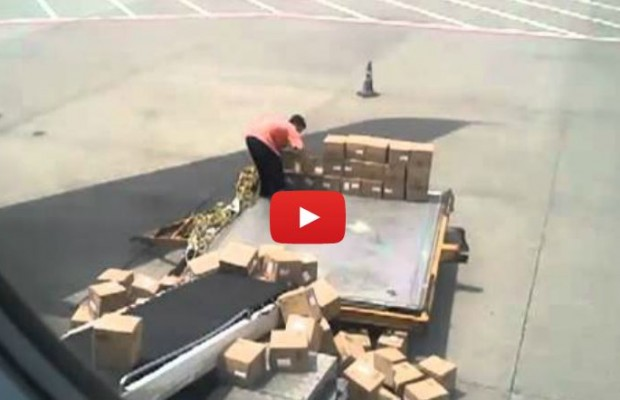 VIDEO: Chinese luggage handler fail