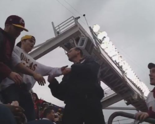 SPORTS: Fan 'Thrown' down stairs by security