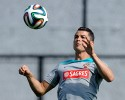 Cristiano Ronaldo controls the ball during a training session of Portugal in Campinas, Brazil, Thursday, June 19, 2014. Portugal plays in group G of the Brazil 2014 soccer World Cup.)