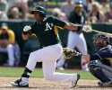 Oakland Athletics' Yoenis Cespedes swings while batting against the Milwaukee Brewers during the fifth inning of a spring training baseball game Thursday, Feb. 27, 2014, in Scottsdale, Ariz.