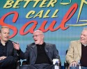 "IMAGE DISTRIBUTED FOR AMC - Bob Odenkirk, from left, Jonathan Banks and Michael McKean, of ""Better Call Saul"", speak at AMC's winter TCA panel at the Langham Hotel on Saturday, Jan. 10, 2015, in Pasadena, Calif."