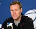 Iowa State head coach Fred Hoiberg makes a statement during a news conference before practice at the NCAA college basketball tournament in Louisville, Ky., Wednesday, March 18, 2015. Iowa State plays UAB in the second round on Thursday.