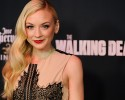 "Emily Kinney, a cast member in the television series ""The Walking Dead,"" poses at a special screening for season five of the show on Thursday, Oct. 2, 2014, in Universal City, Calif."